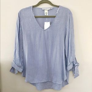 Tops - Blue and white striped top